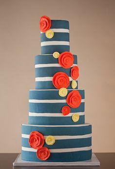 A Blue Striped Fondant Wedding Cake. A Whimsical, Dark Blue Striped Wedding Cake Dark col. Nautical Wedding Cakes, Creative Wedding Cakes, Wedding Cake Designs, Creative Cakes, Wedding Decor, Nautical Cake, Nautical Stripes, Wedding Ideas, Gray Stripes