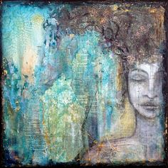 """""""Dream"""", 12""""x12"""", mixed media on canvas, SOLD, see more of my portfolio at www.flowbyjenny.com"""