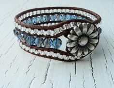 Leather Wrap Cuff Bracelet Blue Sapphire Cuff by thehummingbead