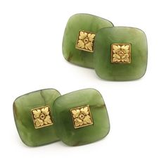 Antique Nephrite and Gold Double Pair of cushion-shaped nephrite double cufflinks centering with gold flowerheads. French, ca. 1900, $8,750