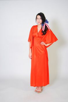 Vintage Caftan Dress 60s Maxi Dress Batwing by WaistedVintage1, $45.00