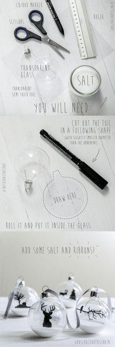 Szukasz pomysłu co zrobić z transparentnymi bombkami? Wypróbuj mój tutorial z użyciem soli i przeźroczystej folii! :)