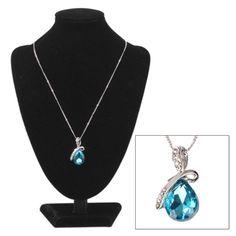 [$3.81] Austrian Crystal Heart Pendant Necklace for Women(Blue)