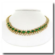 Inv. #15437  Emerald & Diamond Necklace 18k c1950s French Morocco. Lawrence Jeffrey Estate Jewelers