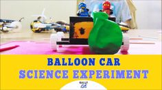 Balloon Car Experiment: How To Make A Balloon Powered Car The Simple  Way This is the Balloon car experiment. We make it as simple as possible so you can easily recreate it at home too.  Get your free PDF of Easy to do science experiments at www.gallykids.com/easy   You will need:  chopping board 2 barbecue sticks 3 straws 4 bottle caps  a tape a balloon a small cereal box   Steps: Making The Car: Before you can make a balloon powered car you'll need to make the car first. Here we use a…