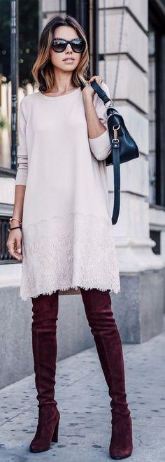 Pale Pink Little Dress Fall Inspo by Vivaluxury