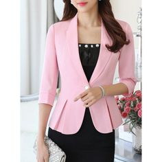 Fold-Over Collar Flounce Single Button Plain Three-Quarter Sleeve... ($40) ❤ liked on Polyvore featuring outerwear, jackets, blazers, one-button blazer, collar jacket, single button blazer, pink blazer jacket and pink blazer