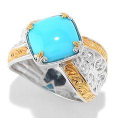 150-419 - Gems en Vogue 10mm Sleeping Beauty Turquoise Scrollwork Ring