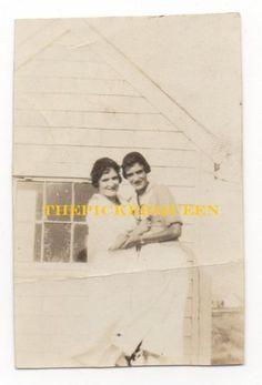 Antique Vintage Photograph~2 Women~White Dresses~Females~Outside~House~1921