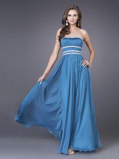 A-line Steelblue Strapless Sequin Drape Floor-length Prom Dress