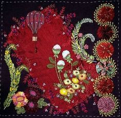 I'm not sure whether to classify this as a crazy quilt of a contemporary stylized art-quilt/embroidery fusion...