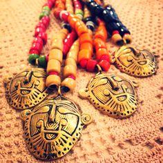 Collane tribali India pasta di vetro e ottone