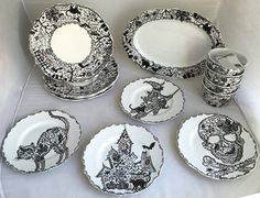 17-piece 222 Fifth Porcelain China Wiccan Lace Pattern Halloween Skull Bats Witches · Appetizer DessertDessert PlatesDinner ... & 222 Fifth Wicken Lace dinner plate - found at Replacements for ...