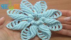 Crochet Folded Petal Flower Popcorn Stitches Center Tutorial 57 Part 1 o...