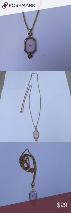 "Avon gold plated pink crystal neklace 28"" chain Jewelry Necklaces"