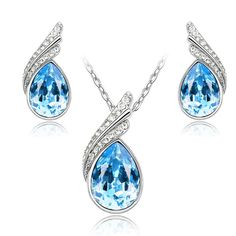 2018 Austrian Crystal Jewelry Sets For Women Fashion Jewellery Jewerly Silver And Gold Color Bridal Wedding Jewelry Sets Women's Jewelry Sets, Wedding Jewelry Sets, Jewelry Stores, Buy Crystals, Healing Crystals, Crystal Fashion, Crystal Wedding, Beautiful Necklaces, Fashion Jewelry