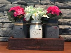 Mason jar table centerpiece satin, chalk finish, custom made boxes of any color or stain create your own wedding or event display  #bucksbarnworks