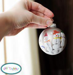 handprint snowman ornametns