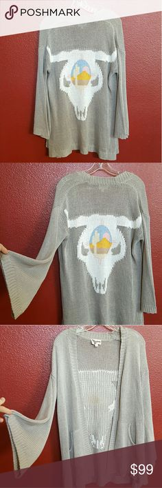 Mumu Ojai Bull Easy Cardi Worn maybe 3 times. Great like new condition.  Adorable bell sleeves. No trades Show Me Your MuMu Sweaters Cardigans