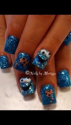 Acrylic Cookie Monster nails