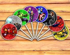 Marvel Avengers Cupcake Toppers Full Set Digital Printable Cupcake Toppers (Iron Man, Thor, Hulk, Hawkeye, Captain America, Black Widow, Spider-Man, Wolverine)