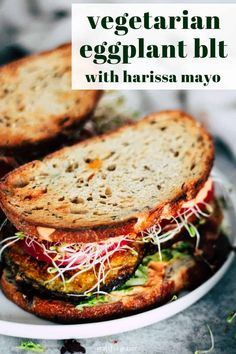 Vegan Lunch: This Crispy Eggplant BLT is one of my favorite sandwiches to make for a quick and easy lunch or dinner. Harissa mayo adds a little spicy kick! This vegetarian eggplant recipe includes a vegan option (just use flax eggs and vegan mayo! Vegetarian Eggplant Recipes, Vegetarian Recipes Dinner, Vegan Vegetarian, Easy Eggplant Recipes, Plant Based Dinner Recipes, Vegetarian Wraps, Easy Vegetarian Lunch, Vegan Lunches, Healthy Desayunos