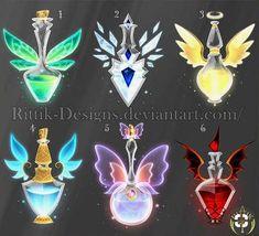 (CLOSED) Potion set 4 by Rittik-Designs- option 6 - Bilder /gezeichnetes etc. Anime Weapons, Fantasy Weapons, Armes Concept, Art Magique, Art Du Croquis, Elemental Magic, Weapon Concept Art, Magic Art, Art Tutorials