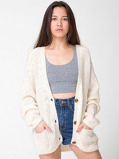 """Loose"" mohair wool cardigan sweater in cream from American Apparel."