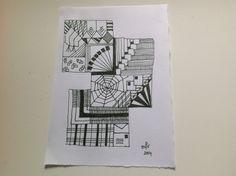 021014 dag 2 van de uitdaging: teken een of meer vierkanten en gebruik voor je motieven alleen rechte lijnen. Ik noem hem: Gevangen in een web van rechtlijnigheid. Alleen weet ik niet of Zentangles een naam mogen hebben....