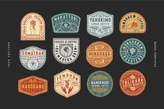 Ad: 12 Coffee Logo and Badge Templates by Tacikworks on 12 Coffee Logo and Badge Templates --- 12 Coffee Logo and Badge Templates from us. Every text is editable and all elements are Typo Logo, Logo Branding, Branding Design, Typography, Badge Template, Logo Templates, Logo Design Inspiration, Icon Design, Coffee Logo