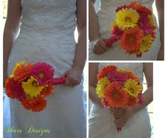 Fuchsia Hot Pink, Orange and Yellow Gerbera Daisy Wedding Bridal Bouquet