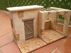Pin by Isabel Guzman on Nativity Christmas Village Sets, Christmas Nativity Scene, Christmas Town, Christmas Villages, Cardboard Box Houses, Clay Houses, Christmas Crafts To Make, Christmas Decorations, Holiday Decor