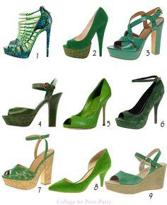 1-Brian Atwood  2-Lulus (30,44€)  3-Ash (172,40€)  4-Sergio Rossi (440€)  5-Casadei (449€)  6-Asos (48€)  7-Asos (49€)  8-Asos (47,51€)  9-Asos (61,09€). Una sugerencia de zapatos verdes para las más atrevidas. Solo tienes que elegir el que mejor va con tu estilo. Lo único que verdaderamente importa es el color.  Si eliges ropa de un solo color, el verde de tus zapatos se llevara todas las miradas.