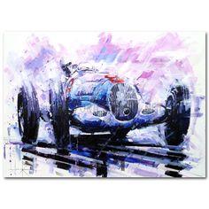 Rain King (Caracciola / Mercedes / Monaco) Original Painting by John Ketchell - lieselotte Vintage Artwork, Vintage Posters, Dodge, Gilles Villeneuve, Vintage Race Car, Vintage Auto, Pretty Cars, Mobile Art, Car Posters