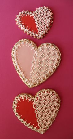 Lacy Needlepoint Hearts by Julia M. Usher