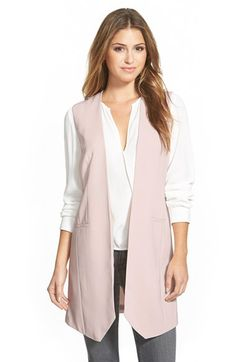 Halogen®+Long+Collarless+Vest+available+at+#Nordstrom