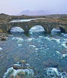 River Sligachan passing swiftly under the bridge, Isle of Skye.