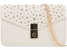 UKFS Exclusive LTD Faux Leather Diamante Envelope Clutch Bag recommended for weddings and bridals - Beige