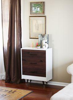 DIY IKEA RAST transformation into a stylish mid-century dresser.