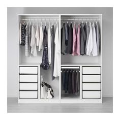 PAX Wardrobe, white, Fjellhamar dark bamboo 200x66x201 cm soft closing damper