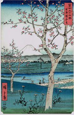 """Japanese Ukiyoe, Woodblock print, antique, Hiroshige, """"The Outskirts of…"""