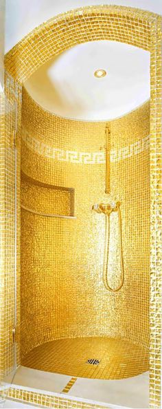 Gold tile shower