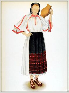Peasant woman from Cluj, Transylvania. Romanian Women, Paper Dolls Clothing, Medieval Clothing, Embroidery Fashion, Drawing Clothes, Folk Costume, Beautiful Blouses, Costumes For Women, Fashion History
