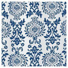 "Damask Fabric Shower Curtain Stall - Navy (Blue) - 54"" x 78"" - InterDesign"