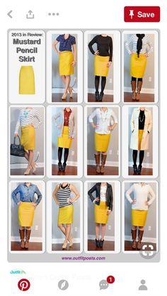 18 mejores imágenes de Falda lápiz amarilla  09fe49037030