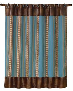 Ruidosa Collection Blue Striped and Brown Faux Leather Shower Curtain   Turquoise  Western Tooled Turquoise Shower Curtain Rings 12 Piece   For the  . Brown And Turquoise Shower Curtain. Home Design Ideas
