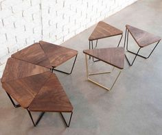 Fractal Modular Table from Design by Them timber and black metal frame, boardroom or training room office table (Modular Furniture Designs) Modular Table, Kitchen Modular, Modular Furniture, Metal Furniture, Cool Furniture, Modern Furniture, Furniture Plans, Furniture Design, Driftwood Furniture