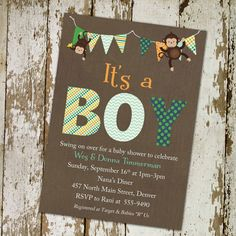 monkey baby shower invitations with banner by katiedidesigns, $13.00