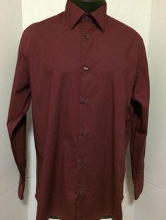 Banana Republic Men's Burgundy Dress Shirt Size 16 - 16.5 Cotton  #BananaRepublic
