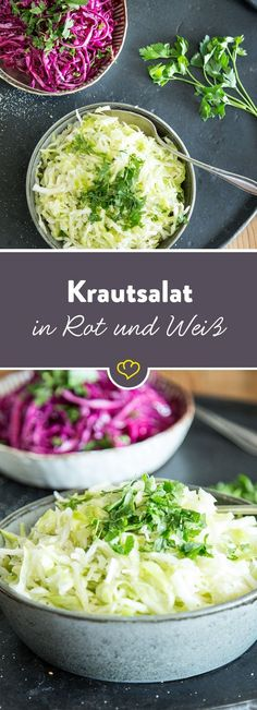 Ob aus Rot- oder Weißkohl – ein guter Krautsalat ist mit wenigen Zutaten schnel… Whether made from red or white cabbage – a good coleslaw can be made quickly with just a few ingredients and is always welcome when grilling and on the kebab. Homemade Coleslaw, Vegan Coleslaw, Feta, Salad Recipes, Vegan Recipes, Cole Slaw, Bruschetta, Grilling Recipes, Food Inspiration